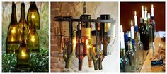 Make a Chandelier for Reusing Wine Glass BottlesModern Home Interior Design Wine Bottle Corks, Lighted Wine Bottles, Bottle Lights, Wine Bottle Crafts, Glass Bottles, Empty Bottles, Wine Glass, Bottle Trees, Alcohol Bottles