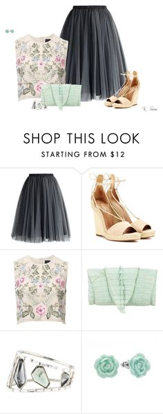 """Tulle Skirt & Espadrilles"" by ksims-1 ❤ liked on Polyvore featuring Chicwish, Aquazzura, Needle & Thread, Alexis Bittar and LC Lauren Conrad"