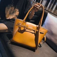 458a493eecb1 Mustard Faux Leather Tote Large Shoulder Handbag with Buckle