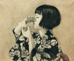 Manami Koike 小池 真奈美 (Japanese, b. 1980, Saitama, Japan) - Chiritotechin, 2016 Pencil, Watercolors on Paper, Ota Fine Arts
