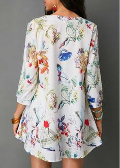 Three Quarter Sleeve Button Neck Printed Blouse | Rosewe.com - USD $30.03