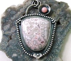 Ive been hoarding this incredible white and pink Ocean Jasper for quite some time. Its mostly white, but the bottom is this gorgeous pale pink. I
