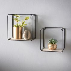 Store books and ornaments on these floating Tromso Set of 2 Wall Shelves - Black. Buy shelves at B&M Stores Square Floating Shelves, Black Floating Shelves, Hexagon Shelves, Black Wall Shelves, Home Decor Sets, Home Decor Store, Cheap Home Decor, Tromso, Black Metal