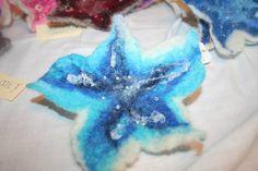 Felted Flower Brooch  Blue by itskindesigns on Etsy, £7.00