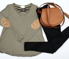 Black Striped Criss Cross Top with Brown Suede Elbow Patches and black mesh leggings www.shopcsgems.com