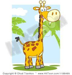 Cartoon of a Cute Happy Giraffe over Sky and Palm Trees