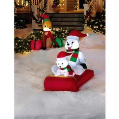 Polar Bears on Sled Airblown Christmas Decoration Christmas Decorations, Christmas Ornaments, Holiday Decor, Polar Bear Christmas, Bear Decor, Sled, Snowman, Winter, Outdoor Decor