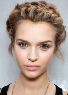 Neutral make up, and braided hair    (Just found this and thought it fit the concept)