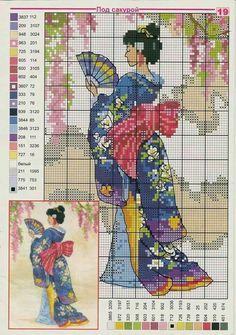 Geisha lady x-stitch