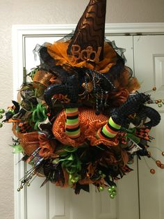 Witch in the door deco mesh wreath by Twentycoats Wreath Creations (2015)
