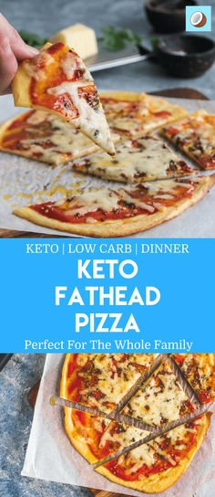Keto fathead pizza is a favorite amongst the low carb community, and when you find the right recipe, you won't even notice that it's not full of carbs! Fathead dough is made from mozzarella cheese and is rolled out between two sheets of parchment paper (baking paper) which forms the base. Go nuts with the toppings, or keep it simple, it's really up to you! via @fatforweightlos