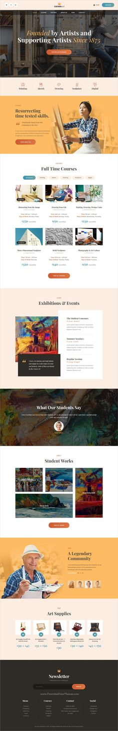 Crown Art is clean and modern design responsive #WordPress theme for school of arts, music academy, #art #classes for children or art studio and creative community website download now..
