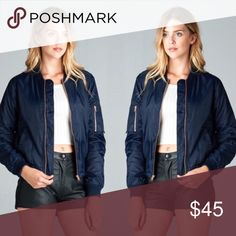 ❗️ONLY 2 LEFT❗️Navy Bomber Jacket Navy Bomber jacket- %100 polyester. Perfect staple jacket for fall 🍂 April Spirit Jackets & Coats