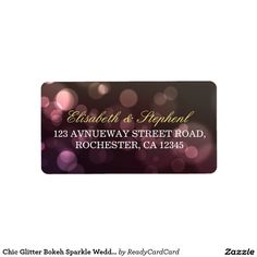 Chic Glitter Bokeh Sparkle Wedding Address Labels