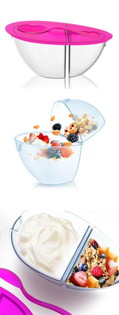 Flip + Pour Food Container - perfect for yogurt or cereal. #dodatki #inteligentnystyl www.amica.com.pl