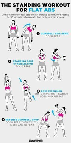 The standing workout for flat Abs: With beach season nigh, we've already begun toning our muscles and glutes. Here are 17 of the best fitness workouts to get your sweat on. Fitness Workouts, Fitness Abs, At Home Workouts, Fitness Motivation, Health Fitness, Women's Health, Health Tips, Ab Workouts With Weights, Fitness Weightloss