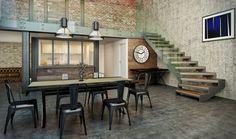 Escalier contemporain  Design moderne  Quart tournant départ  Limon simple crémaillère  Rampant verre  Marche bois