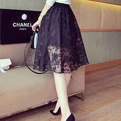 15Buy LIVA GIRL Lace Panel A-Line Midi Skirt at YesStyle.com! Quality products at remarkable prices. FREE WORLDWIDE SHIPPING on orders over US$ 35.