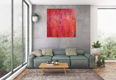 Indian summer – large red and blue abstract Texture Art, Texture Painting, Oil Painting Abstract, Abstract Canvas, Blue Abstract, Abstract Landscape, Palette Knife Painting, Living Room Art, Your Paintings