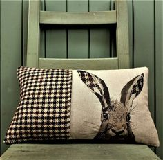 Tweed And Linen Hare Cushion by Mogwaii Design, the perfect gift for Explore more unique gifts in our curated marketplace. Applique Cushions, Wool Applique, Applique Patterns, Scatter Cushions, Throw Pillows, Country Cushions, Scottish Animals, Animal Cushions, Unique Housewarming Gifts
