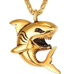 f2b4d619b54 Stainless Steel Big Shark Pendant Necklace Men Jewelry Rock Punk Gold Black  Color Sea Animal Necklaces