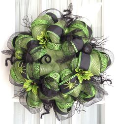 Deco Mesh Wreath Ideas | FuNkY HaLlOwEeN Deco Mesh Wreath Lime Green Black Halloween Decor