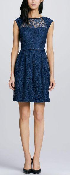 Blue Lace Dress; cute for bridesmaids?