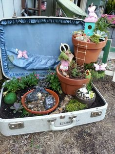 Fairy garden in a suitcase