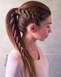 ponytail for straight hair with a side rope braid