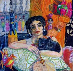 Black Cat Images, Arabian Decor, Arab Women, Painter Artist, Arabic Art, Egyptian Art, Woman Painting, Female Art, Contemporary Art