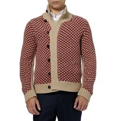 Yves Saint Laurent - cream and red patterned camel hair, wool and cashmere-blend cardiga
