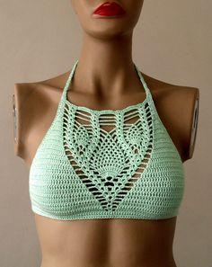 Crochet Mint Color Bikini Top Bustier Women by formalhouse