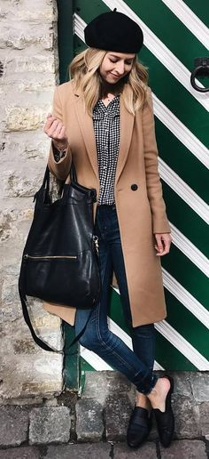 how to style a coat : hat + sweater + bag + skinnies + loafers