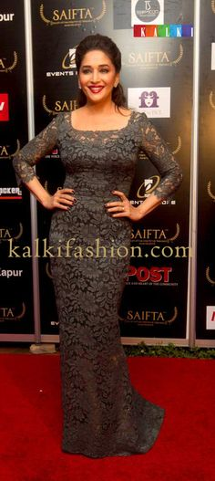 http://www.kalkifashion.com/   Madhuri Dixit Nene in a lce gown by Dolce n Gabbana at the red carpet of SAIFTA