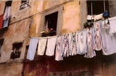 Linens on a clothesline