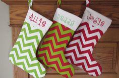 Personalized Christmas Stocking:  Bright Chevron Collection. $30.00, stitchery33 via Etsy.