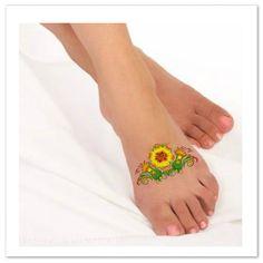 Temporary Tattoo Flower Fake Foot Tattoo by UnrealInkShop on Etsy