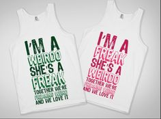 For the weird and freak best friends. Lets be real though when you are with your bestie bff then you both laugh to long and talk to loud and act crazy. Great graphic tees for best friends. Bff Shirts, Best Friend T Shirts, Best Friend Outfits, Best Friends, Bff Sweatshirts, Friends Forever, Slimming World, Kids Outfits, Cool Outfits