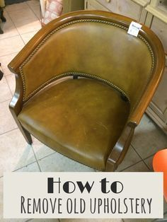I am currently working on this 30+year old chair, that I got at an upscale sale store for only $22. I wanted to share the steps I took, and the tools I used to take off the old upholstery.