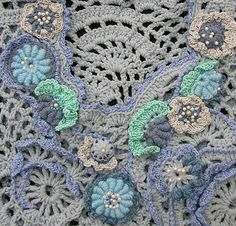 detail shot of freeform crochet top by Marianne Seiman