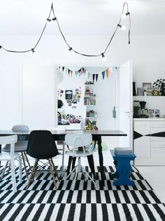 Definitely coveting the Eames DSW chair & have added the ikea stockholm rand rug to my list of must-haves. Eames Chairs, Dining Chairs, Dining Table, Dining Room, Dining Area, Lounge Chairs, Interior Inspiration, Room Inspiration, Design Inspiration