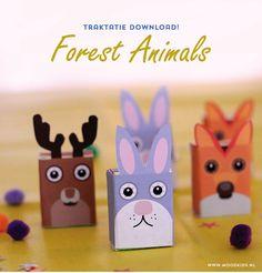 traktatie, trakteren, tips, traktatie idee, bosdieren, rozijnen doosjes, forest animals, download, gratis, free printable, treat, raisins, kids party