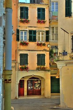 Houses in the town of Corfu  Greece Art & Architecture