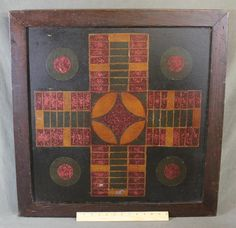 "Antique circa-1920s American Folk Art Painting ""Parcheesi Gameboard"" NR Oak Frame, Great Surface ...Ebay  Sold   530.00.     ~♥~"