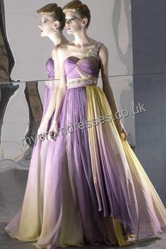 Floor Length One-shoulder Purple Tulle A-line Evening Dress fes-00048