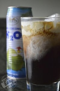 Iced Coconut Cafe. Easiest thing ever made. Coconut water + coffee + cream or coconut milk. (For cocktail... a little Malibu? Kahlua?)