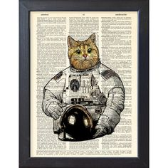 Cat astronaut, Art Print Poster, Space, Cat space suit ,DICTIONARY... (€9,21) ❤ liked on Polyvore featuring home, home decor, wall art, dorm decor, cat home decor, cat poster, kitty poster and cat wall art