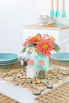 Adhere wooden discs-- some painted, some wood-burned--to felt to achieve this trendy centerpiece!
