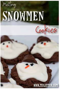 Melting Snowmen Cookies!  These are as adorable as they are delicious!  #Christmascookies #cookies #FoodieFiles Pin it to Save it!
