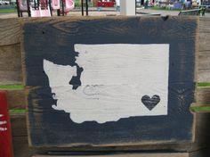 I heart Washington state wooden sign fashoined from 100% reclaimed wood